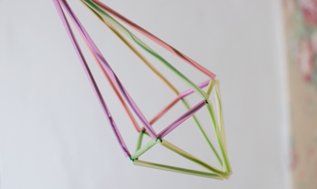 diy geometric himmeli hanging planter ornament straw