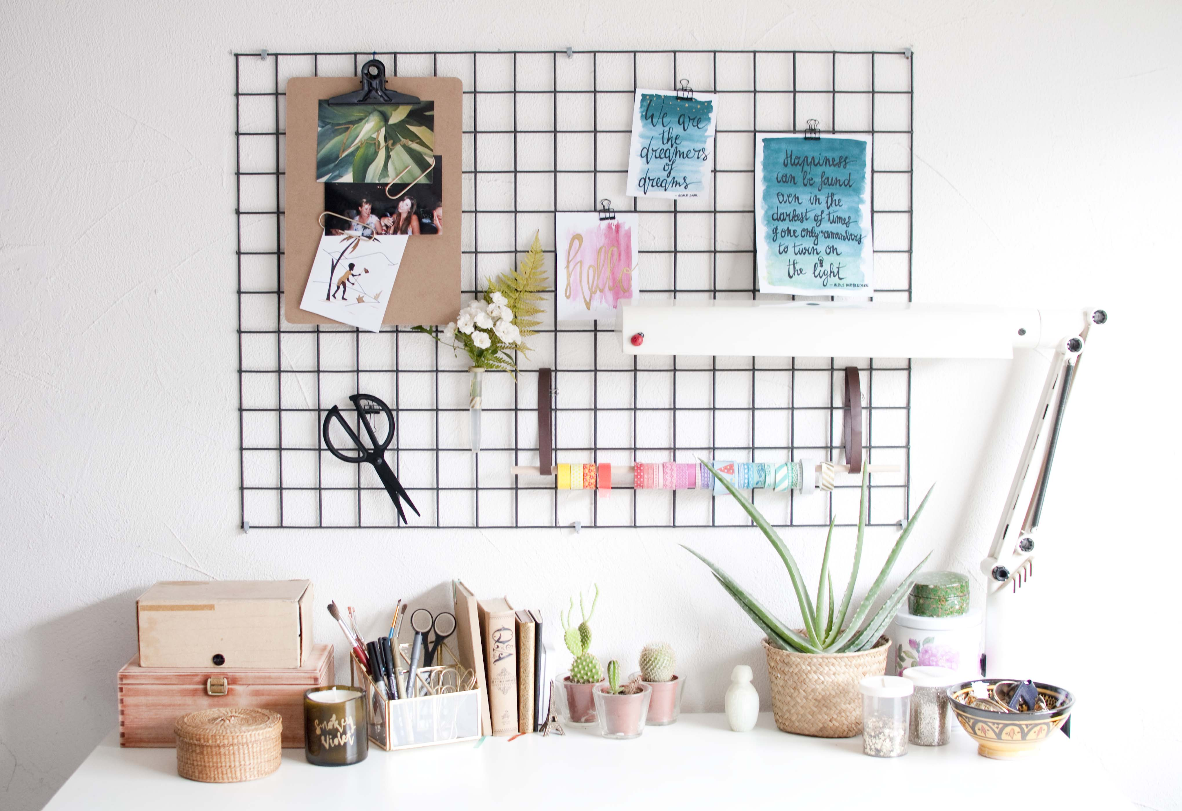 diy wall grid organisation