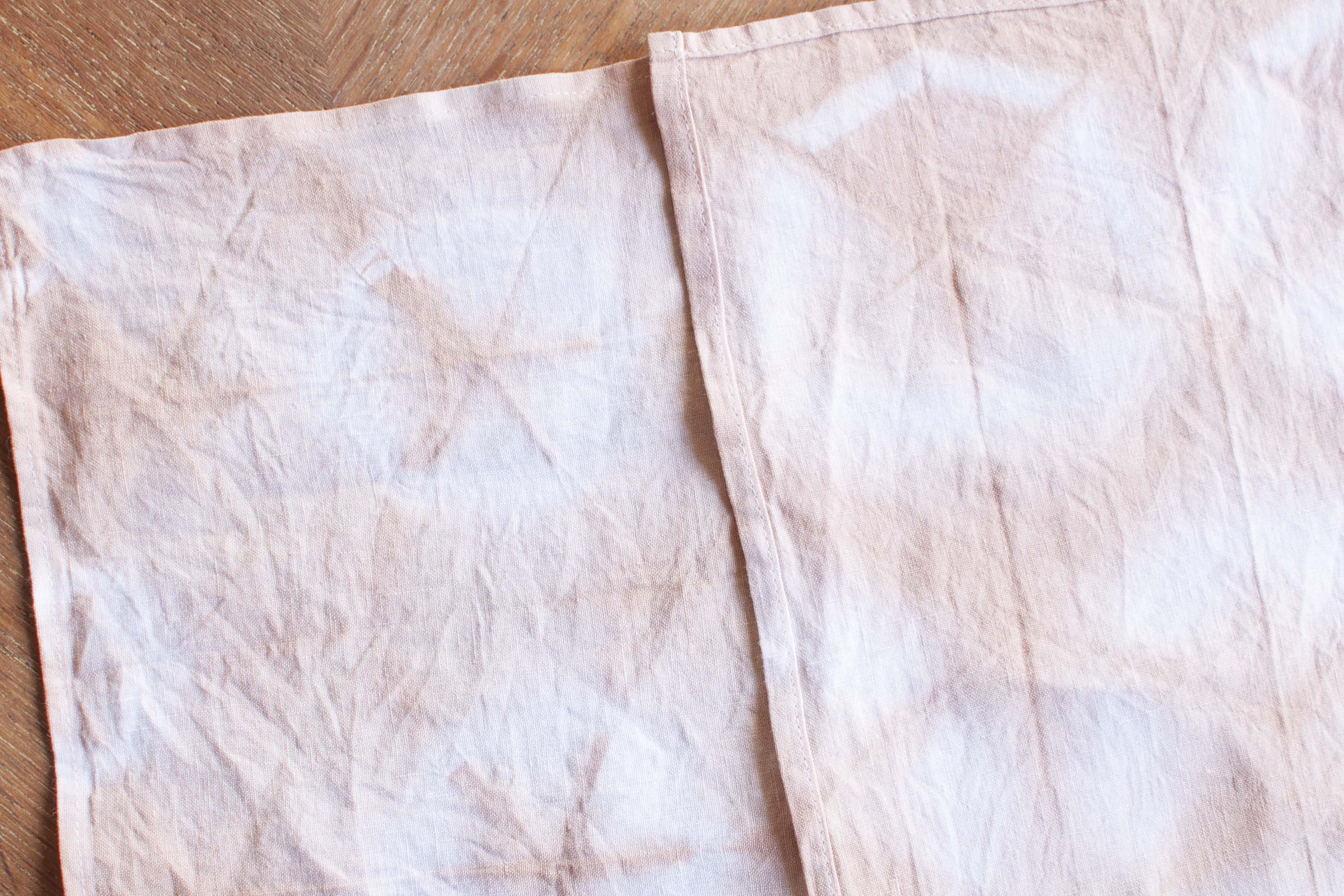 DIY avocado colored fabric napkins shibori