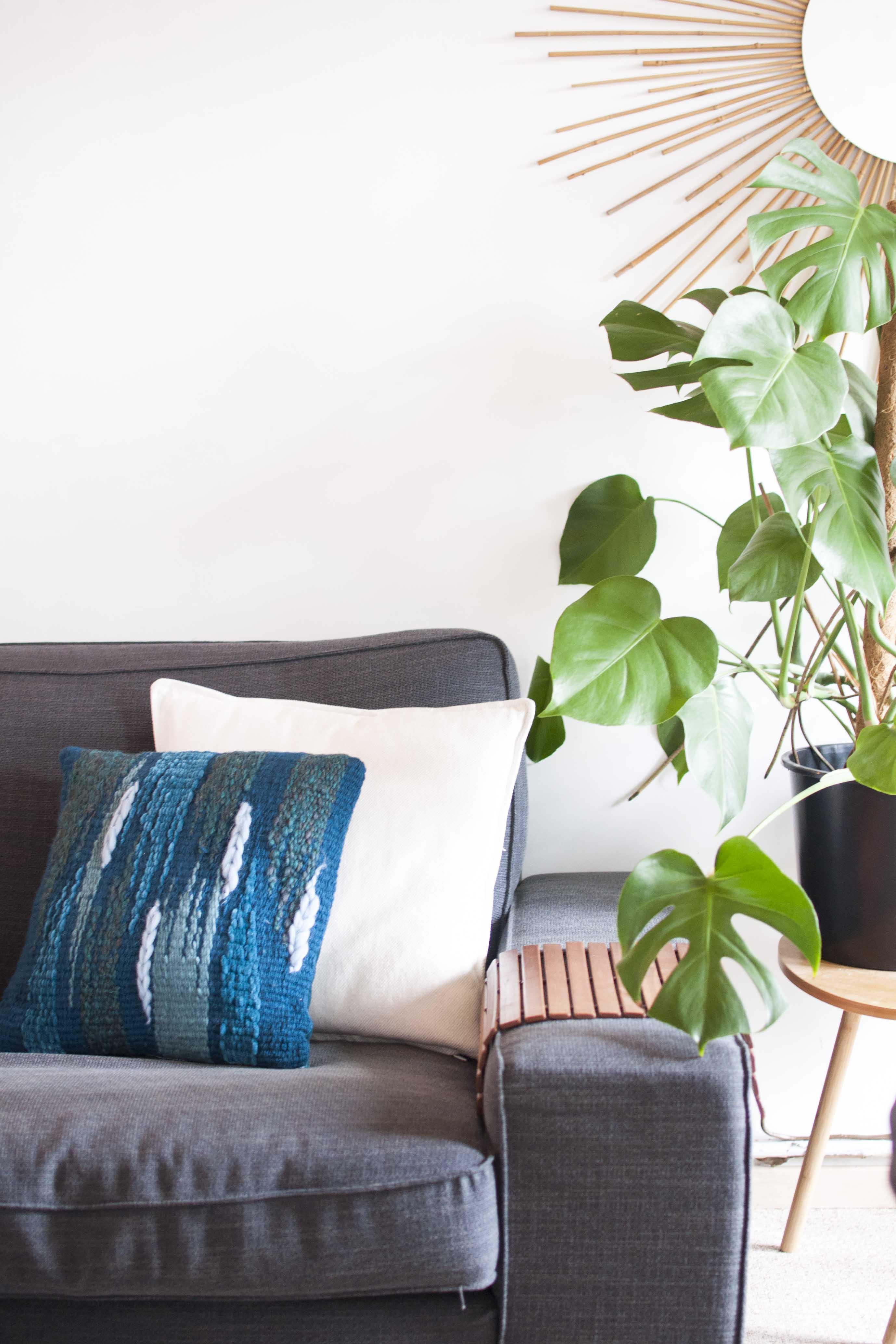 DIY woven pillow velvet weven veritas kussensloop naaien