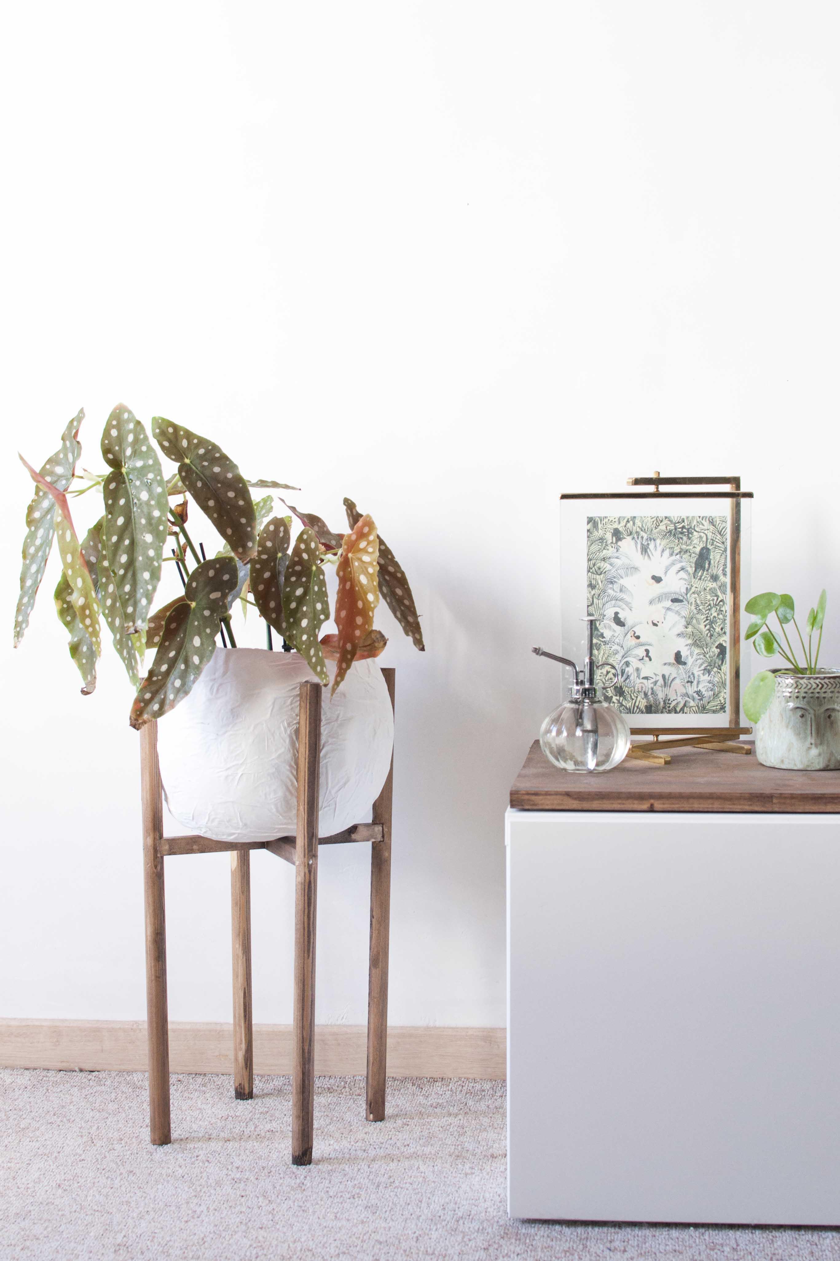 diy mid century concrete plant stand wood planter papier mache